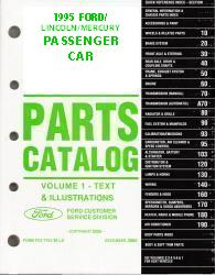 1995 Complete Parts Catalog for Ford, Lincoln and Mercury Passenger Cars (Multiple Volumes)