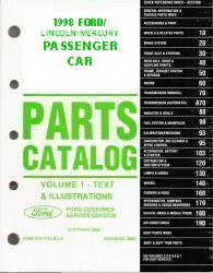 1998 Complete Parts Catalog for Ford, Lincoln and Mercury Passenger Cars (Multiple Volumes)