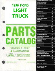 1998 Complete Parts Catalog for Ford Light Trucks (Multiple Volumes)