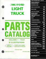 2002 Complete Parts Catalog for Ford Light Trucks (Multiple Volumes)