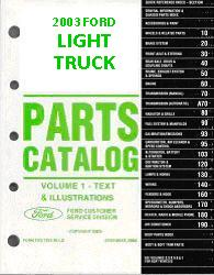 2003 Complete  Parts Catalog for Ford Light Trucks (Multiple Volumes)