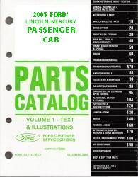 2005 Complete Parts Catalog for Ford, Lincoln and Mercury Passenger Cars (Multiple Volumes)