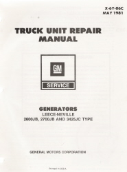 1981 GM Truck Unit Repair Manual Generators
