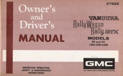 1972 GMC Vandura, Rally Wagon, Rally STX Owner's and Driver's Manual