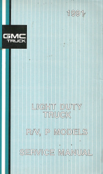 1991 GMC R/V and P Series Light Duty Truck Factory Service Manual