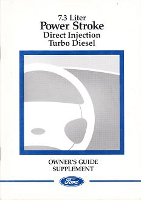 1999 Ford 7.3L Powerstroke Diesel Factory Owner's Guide Supplement