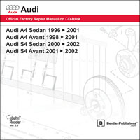1996 - 2002  Audi A4/S4 Official Factory Repair Manual on CD-ROM