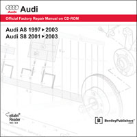 1997 - 2003 Audi Official Factory Repair Manual on DVD-ROM A8: 1997 - 2003, S8: 2001 - 2003