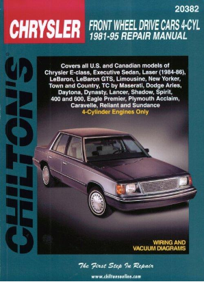 1981 - 1995 All Chrysler, Dodge & Plymouth, Eagle 4 Cylinder Front Wheel Drive Cars Chilton's Total Car Care Manual