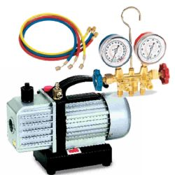 FJC 2.5 CFM Vacuum Pump with R134a Brass Manifold Gauge