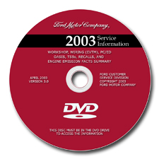 2003 Model Year Ford / Lincoln / Mercury Factory Service Information DVD-ROM