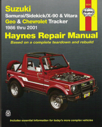 1986 - 2001 Suzuki Samuri, Sidekick, X-90 & Vitara and Geo/Chevrolet Tracker (4 Cylinder Models), Haynes Repair Manual