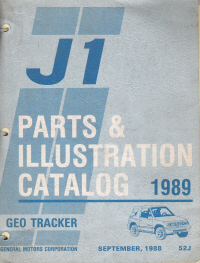 1989 GMC J1 Geo Tracker Parts and Illustration Catalog