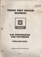 1980 GM Truck Unit Repair Manual - Air Compressor & Governor  (Midland Ross)