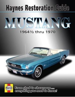 1964 1/2 - 1970 Mustang Restoration Guide Haynes Manual