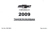 2009 Chevrolet Tahoe & Suburban Owner's Manual Portfolio
