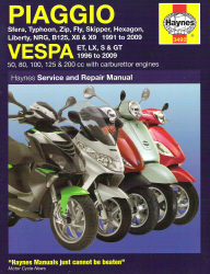 1991 - 2009 Piaggio and 1996 - 2009 Vespa Scooters Haynes Repair Manual