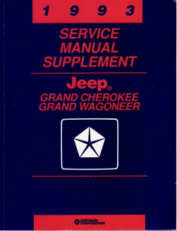 1993 Jeep Grand Cherokee & Grand Wagoneer Factory Service Manual Supplement