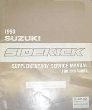 1990 Suzuki Sidekick Factory Service Manual Supplement for 2WD Models
