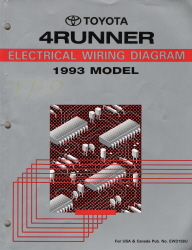1993 TOYOTA 4RUNNER Factory Electrical Wiring Diagram Manual