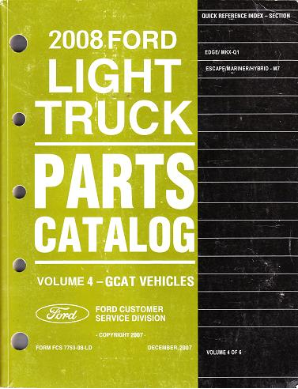 2008 Ford Light Edge, MKX, Escape, Mariner/Hybrid Catalog Vol. 4