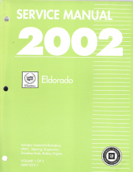 2002  Cadillac Eldorado  Factory Service Manual - 2 Volume Set
