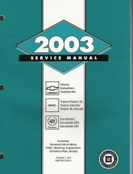 2003 Chevrolet Avalanche, Suburban, Tahoe, GMC Yukon, Cadillac Escalade CK8 Trucks Factory Service Manual - 4 Volume Set