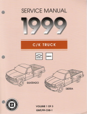 1999 Chevrolet GMC New Style C/K Truck Service Manual - 3 Volume Set