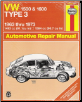 1963 - 1973 VW 1500 & 1600 TYPE 3 Haynes Automotive Repair Manual (SKU: 0900550848)