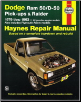 1979 - 1993 Dodge Ram 50/D-50 Pick-ups, Raider & Pylmouth Arrow Haynes Repair Manual (SKU: 1563920859)