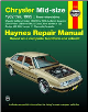 1982 - 1995 Chrysler Mid-Size: LeBaron, E-Class, New Yorker, Dodge 400, 600, Lancer & Plymouth Caravelle Haynes Repair Manual (SKU: 1563921960)