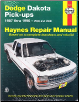 1987 - 1996 Dodge Dakota Pick-ups Haynes Repair Manual (SKU: 1563922142)