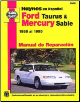 Manual de Reparaci n: Haynes 1986 al 1995 Ford Taurus & Mercury Sable (SKU: 1563922487)