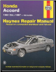 1994 - 1997 Honda Accord All Models Haynes Repair Manual (SKU: 1563923238)