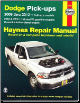 2009 - 2012 Dodge Ram Full Size Pick-Ups - 2WD & 4WD V6, V8 Gas & Cummins Turbo-Diesel Engines Haynes Repair Manual (SKU: 1620920077)