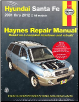 2001 - 2012 Hyundai Santa Fe Haynes Repair Manual (SKU: 1620922118)