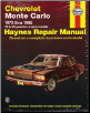 1970 - 1988 Chevrolet Monte Carlo Haynes Repair Manual (SKU: 185010526X)