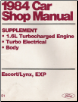 1984 Ford Escort & Mercury Lynx, EXP Car Factory Shop Manual Supplement (SKU: FPS36512684E1)