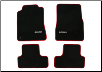 ROUSH 2005 - 2009 Mustang  Floor Mat Set, Front & Rear, Dark Charcoal w/ Red Trim (SKU: 401357)