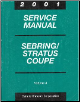 2001 Chrysler Sebring and Dodge Stratus Coupe Factory Service Manual   3 Volume Set (SKU: 8127010201-2-3)