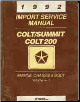 1992 Dodge Colt / Eagle Summit / Colt 200 Service Manual Volume - 1 (SKU: 812702111)