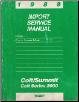 1989 Dodge Colt / Colt 2000 Series / Eagle Summit Import Service Manual Engine, Chassis & Body Volume 1 (SKU: 812709011)