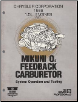 1986 Chrysler / Dodge / Plymouth / Jeep / Eagle 1.5L Engines with Mikuni O2 Feedback Carburetor System Operation and Testing (SKU: 816996004)