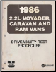 1986 2.2L Plymouth Voyager / Dodge Caravan / Ram Vans Driveability Test Procedure (SKU: 816996012)