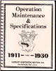 1911 - 1930 Harley-Davidson Operation, Maintenance & Specification Manual (SKU: 99405-93)
