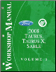 2008 Ford Taurus, Taurus X & Mercury Sable Factory Workshop Manual - 2 Vol Set (SKU: FCS14300081-2)