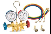 "FJC R134a Brass Manifold Gauge Set with 72"" Hoses (SKU: FJC6715)"