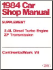 1984 Ford / Lincoln Car Shop Manual Supplement - Continental / Mark VII (SKU: FPS36512684D1)