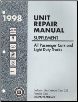 1998 All GM Passenger Cars and Light Duty Trucks Transmission, Transaxle and Transfer Case Unit Repair Manual & Supplement, 3 Volume Set (SKU: GMPT98TURM1-2-3S)