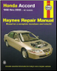 1998 - 2002 Honda Accord Haynes Repair Manual (SKU: 1563925389)